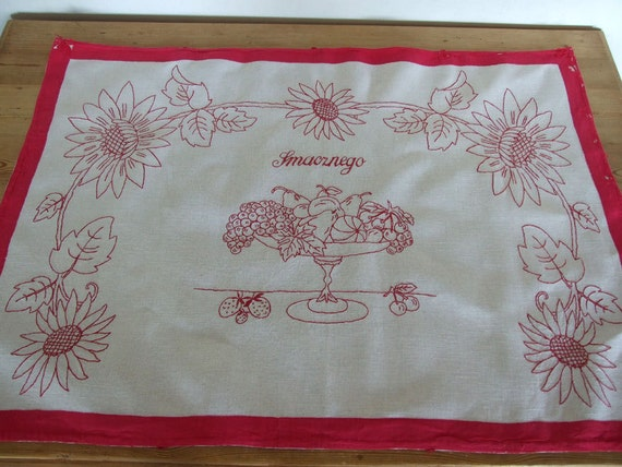 "Vintage Hand embroidered wall hanging, organic homespun linen Polish folk art,  ""good apetite"" in Polish, hand embroidery in red"