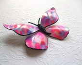Butterfly Brooch Pink Blue White Vintage 1960's Jewelry
