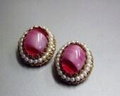 Vintage Earrings West German Pink and Pearl Costume Jewelry 1950s
