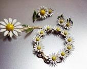 Vintage Daisy Bracelet, Earrings, Pin