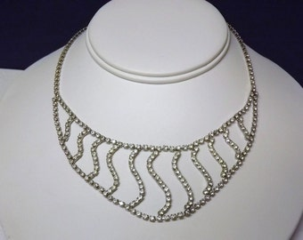 Vintage Clear Rhinestone Wave Necklace/Bridal Wedding Jewelry/1950s Costume Jewelry/Unique Unusual