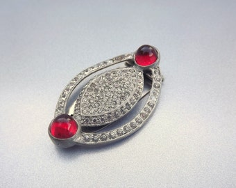 Antique Dress Clip, Fishel Nessler, Ruby Red Clear Rhinestone Jewelry, Heirloom Jewelry, Signed Jewelry Fashion Accessory
