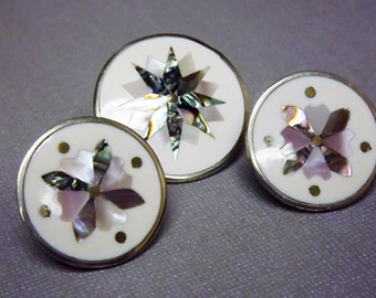 Shell Inlay Pendant, Brooch, Clip Earrings, Mother of Pearl Jewelry, Alpaca Silver Inlay Jewelry, Star Jewelry, Shell Jewelry