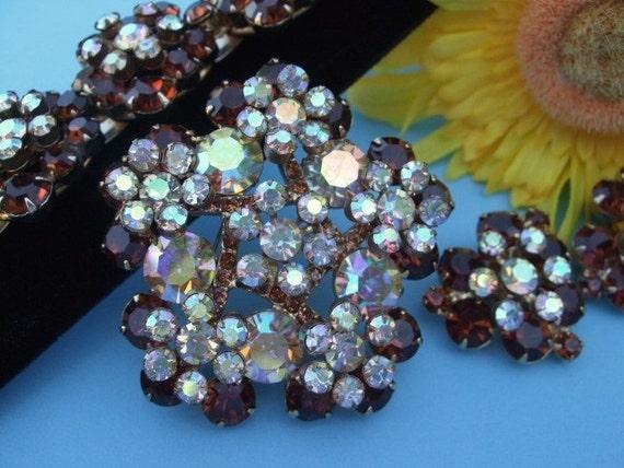 Juliana/Delizza and Elster/Rhinestone Bracelet, Earrings, Brooch/Vintage 1960s Jewelry/Costume Jewelry Set