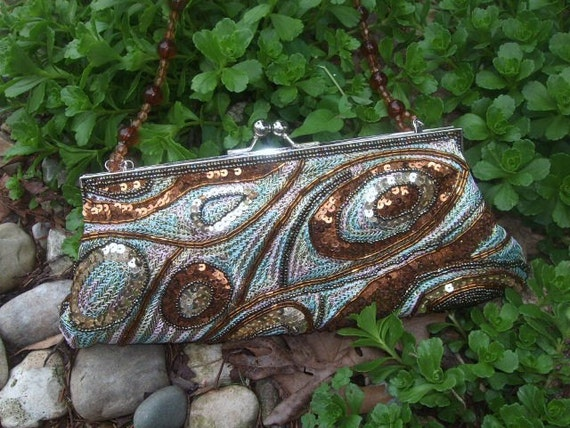 Clutch, Purse, Handbag, Sequin and Bead