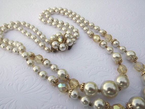 Vintage Pearl Necklace, Double Strand