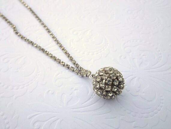 Rhinestone Necklace with Rhinestone Ball Pendant Wedding Bridal Vintage Jewelry