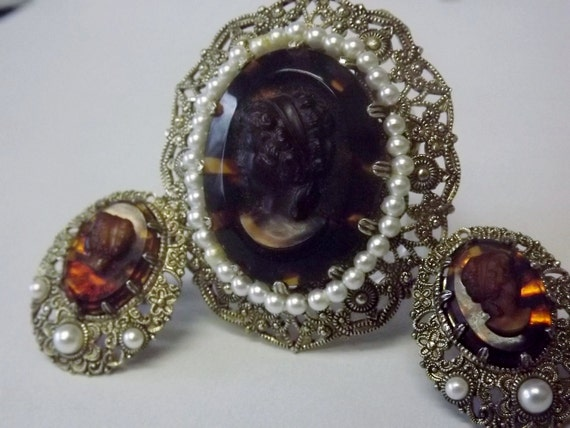Cameo Brooch and Earrings West Germany Costume Jewelry