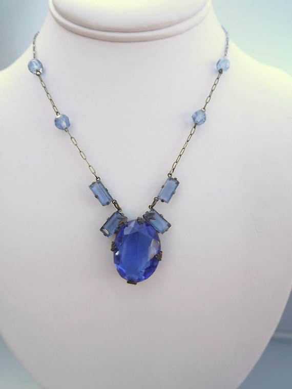 RESERVED FOR TINA Art Deco Necklace Cobalt Blue 1920 -1930 Vintage Jewelry