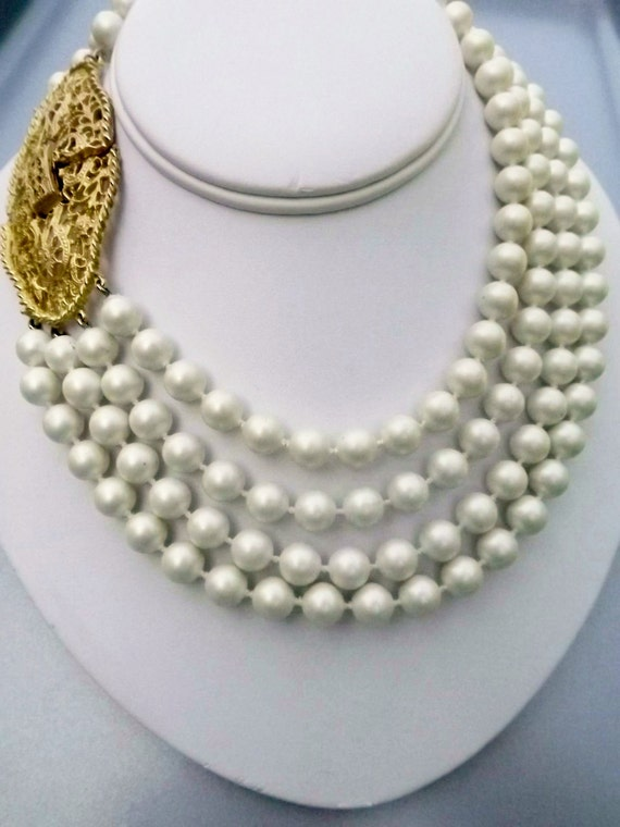 pearl necklace decorative clasp vintage wedding bridal jewelry