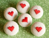 Fabric Buttons - Be My Valentine - 6 Small Embroidered Red Hearts, Beige Fabric Covered Buttons, Handmade Fabric Button Clothing, Knitting