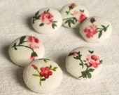 Fabric Buttons - Little Red Roses - 6 Small Red Flowers on White Fabric Covered Buttons