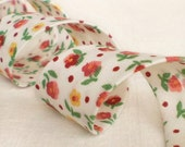 Bias Tape Binding - Little Red Flowers From My Garden - 4 Yards Handmade White Green Yellow Floral Cotton Fabric - THE LAST ONE