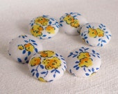 Fabric Buttons - Provence Roses - 6 Small White, Yellow and Blue Floral Fabric Covered Buttons