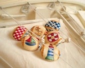 Fabric Buttons - Out To Sea - 6 Medium Fabric Covered Buttons for Sailors - Red, Blue, Yellow and White Lighthouse, Sailboat, Anchor