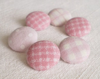 Fabric Buttons - Baby Baby - 6 Small Fabric Covered Buttons - Pink and White Gingham and Polka Dots