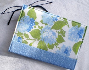 Fabric Journal Cover - Vintage Blue Hydrangea - Handmade Fabric Cover A6 Notebook, Diary - Blue, Green, White and Turquoise Flowers