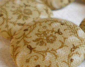 Fabric Buttons - Tendrils - 6 Medium Tan, Brown and Beige Flowers and Leaves Fabric Covered Buttons