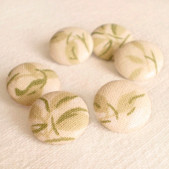 Fabric Buttons - Summer Leaves, 6 Small Fabric Covered Buttons, Yellow, Green Warm Garden, Sewing Buttons, Clothing Buttons, Vintage Buttons