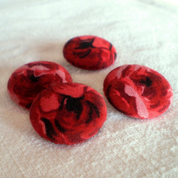 Fabric Buttons - Glowing Red Roses - 4 Medium Fabric Covered Buttons