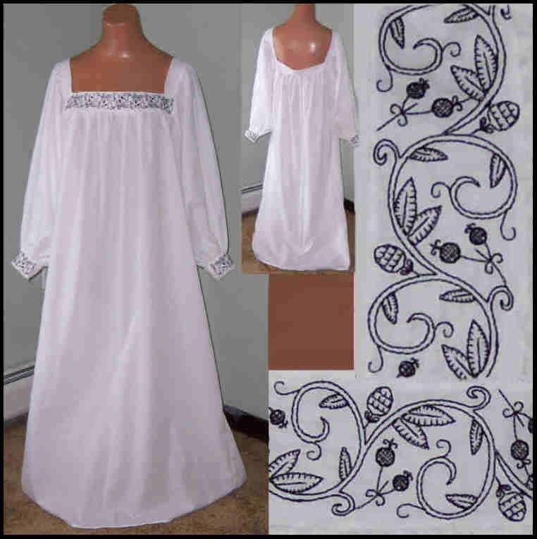 Made to order blackwork chemise renaissance larp leaves and Fashion embroidery designs