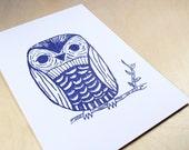 Navy Owl Art Print - mateoandisabel