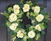 Year Round Yellow Peony and Hydrangea Wreath