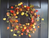 Chinese Lanterns and Fall Leaves Wreath- Fall Wreath