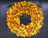 Spring Wreath, Tulip Spring Wreath Custom, Spring Decor, Easter Wreath, Housewarming Gift, Orange Tulip Wreath