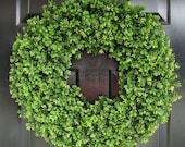 Year Round Wreath, Artificial Boxwood Door Wreath, Front Door Spring Wreath, Fall Wreath, 20 Inch