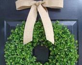 Boxwood Wreath- Spring Wreath- Wedding Wreath- Year Round Decor- Summer Wreath- Artificial Boxwood Wreath- Burlap Ribbon- Christmas Wreath - elegantholidays