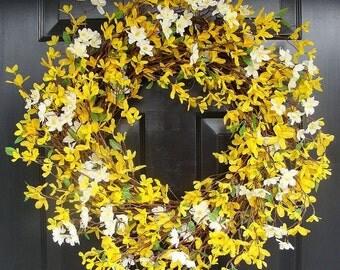 Cherry Blossom and Forsythia Wreath- Yellow Wreath- Spring Decor- Summer Wreath