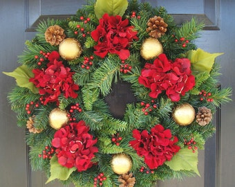 Hydrangea Christmas Wreath, Christmas Decor, Gift for Her, Wreath for Christmas