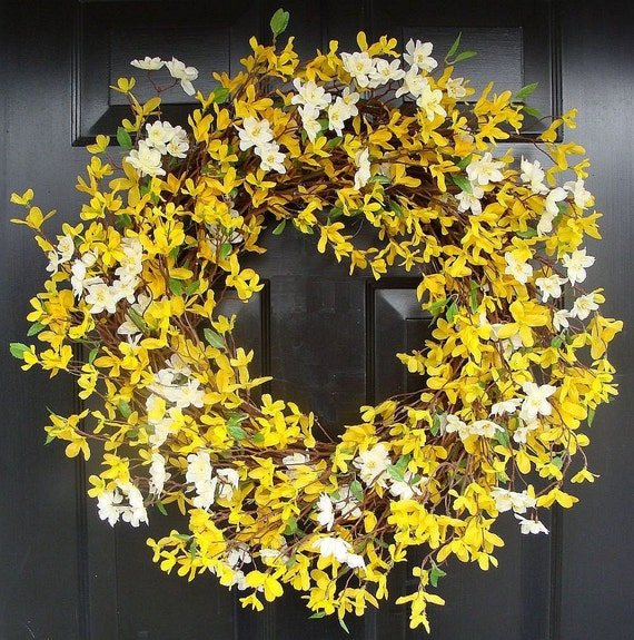 Forsythia wreath yellow - Cherry Blossom And Forsythia Wreath Yellow Wreath By