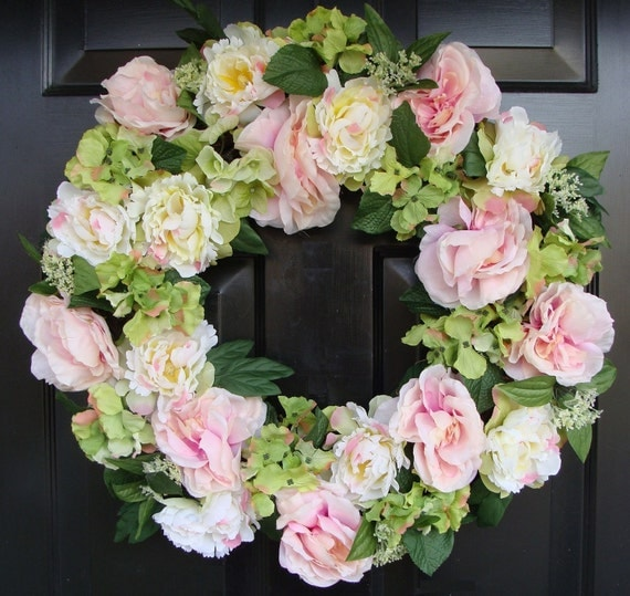 Spring Wreath- Mother's Day Gift- Mother's Day Wreath- Peony Cottage Chic Decor- Shabby Chic Pink Peonies