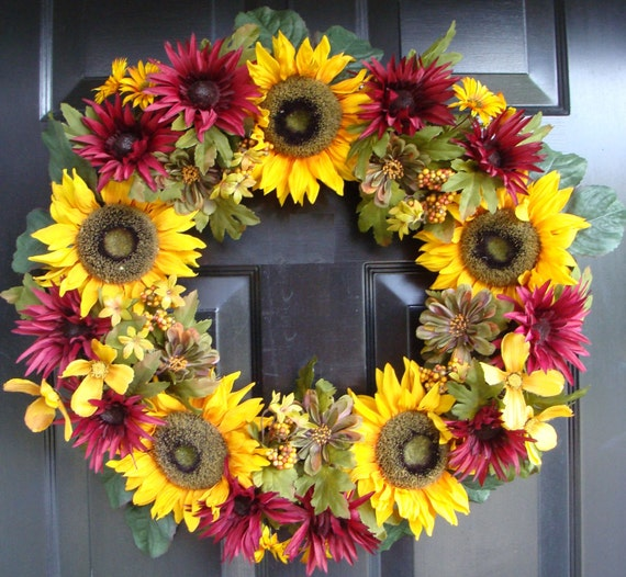 Yellow Sunflowers and Purple Mums Fall Wreath, Fall Wreath for Front Door, Autumn Decor, Fall, Sunflower Wreath for Fall