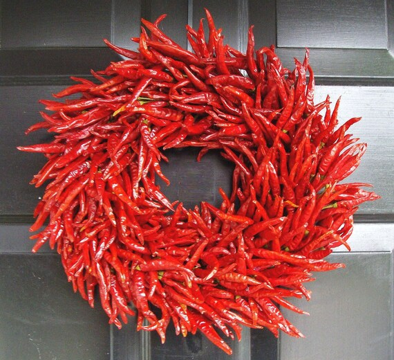 Organic Red Chili Pepper Wreath, Table Centerpiece, Wall Decoration, Christmas Gift, Christmas Decoration