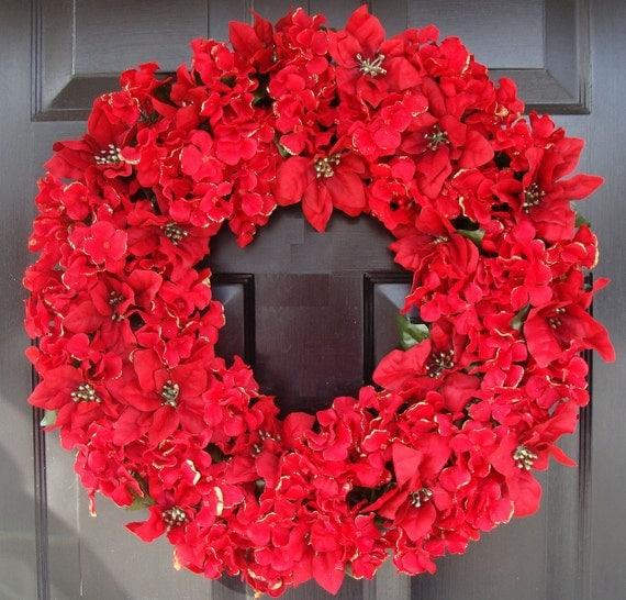 Poinsettia Hydrangea Christmas Wreath- Christmas Decoration- Holiday Decor- Holiday Wreath  LAST ONE