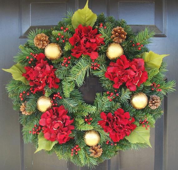 Xmas Wreath: Hydrangea Christmas Wreath Christmas Decor Gift For Her