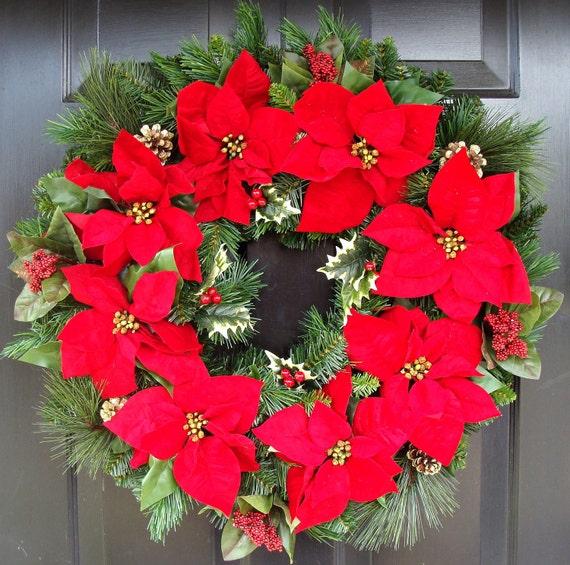 Poinsettia Christmas Weath Red Poinsettia Wreath Christmas
