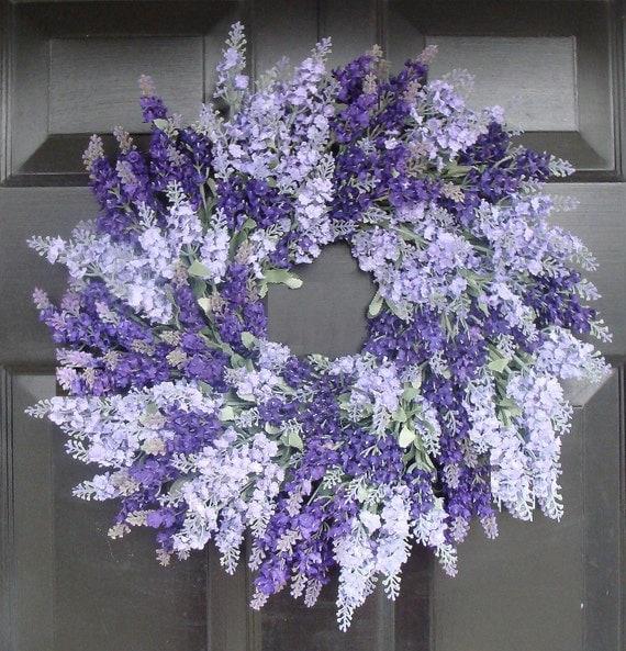 Silk Lavender Wreath, Spring Wreath, Mother's Day Gift, Bathroom Decor, Summer Wedding Wreath- 20 inch