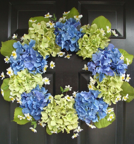 Spring Wreath- Blue Hydrangea Wreath- Summer Wreaths- Summer Wreath for Door