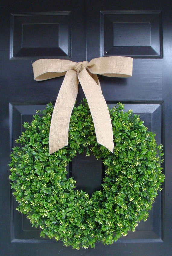 Boxwood Wreath- Wedding Wreath- Front Door Decor- Spring Wreath- Boxwood Wreath with Burlap Ribbon- Christmas Wreath