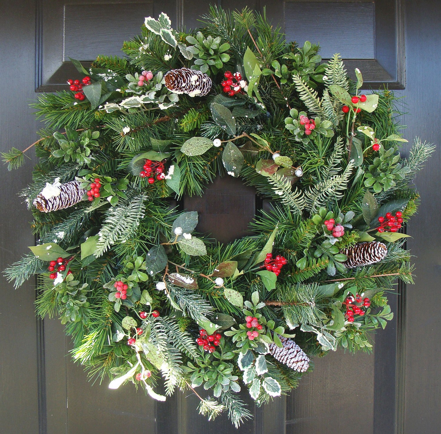 Christmas wreath front door wreath holiday wreath berry for Door garland christmas