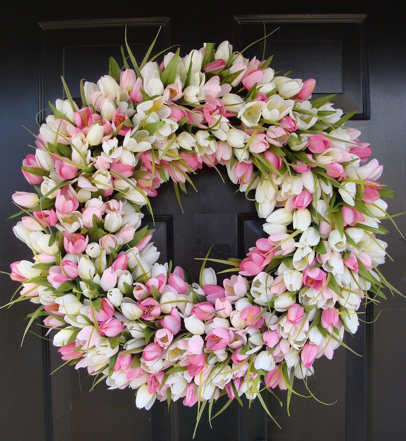 Reserve Listing For Kristin 2 Spring Wreath Pink Mini Tulip