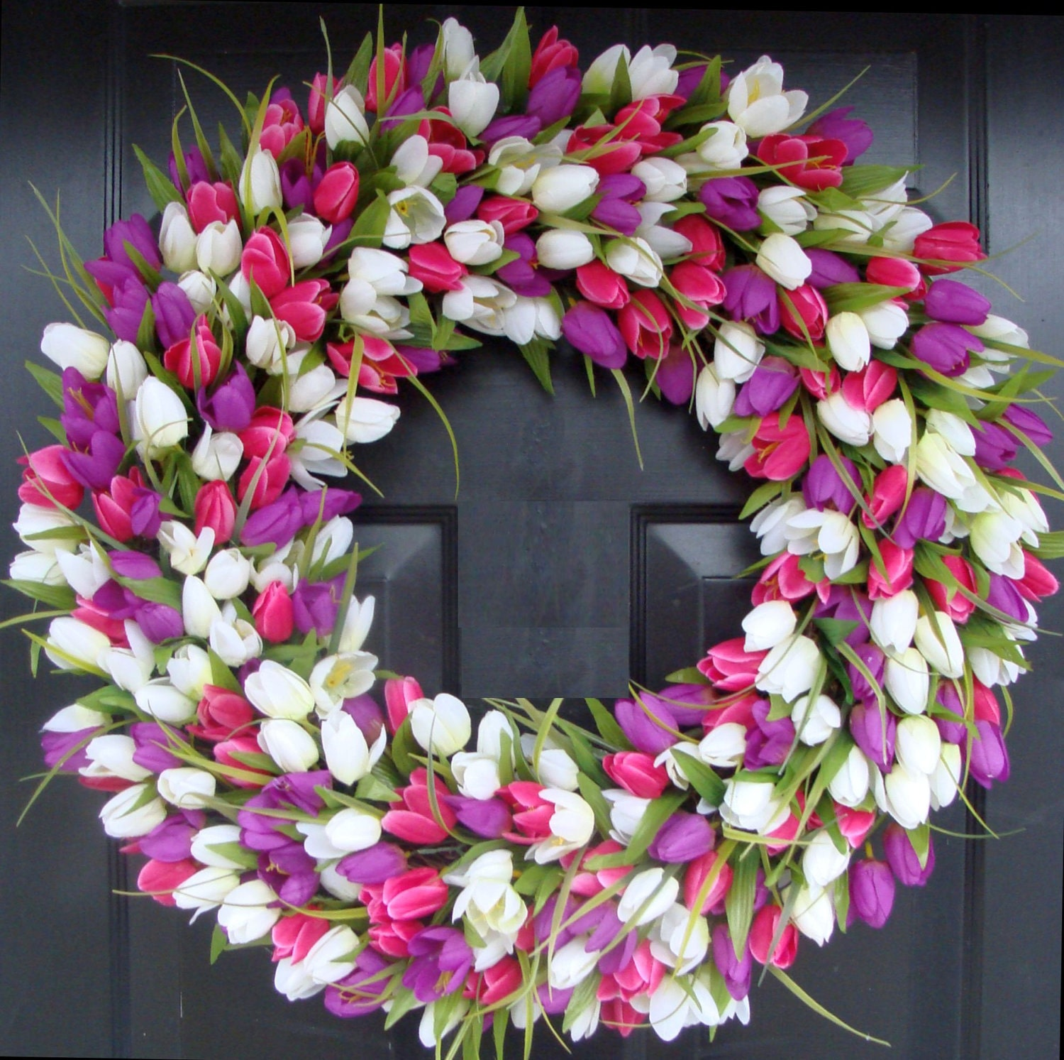 24 Inch Tulip Spring Wreath Large Outdoor Spring Wreath