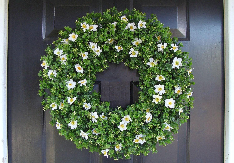 Boxwood Spring Wreath Front Door Decor Outdoor By