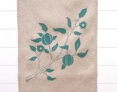 Linen Tea Towel - Turquoise Flowering Branch - Hand printed