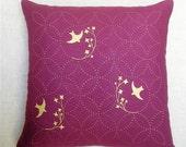 Throw Pillow - Purple Linen - Metallic Gold Screen Printed Birds