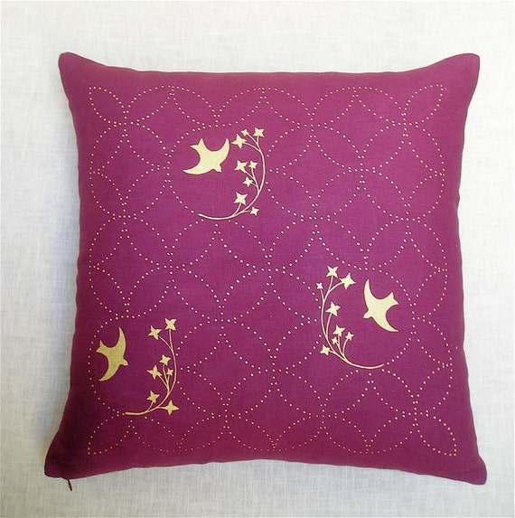 Items similar to Throw Pillow - Purple Linen - Metallic Gold Screen Printed Birds on Etsy